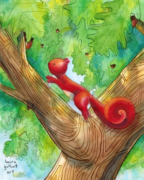 Red Squirrel Pen Ink, Watercolo - lgallantart | ello