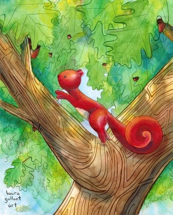 Red Squirrel Pen Ink, Watercolo - lgallantart | ello