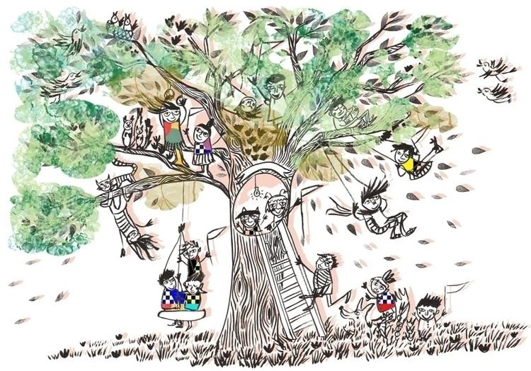 Tree - ink, penink, digitalcolour - lisacinar | ello