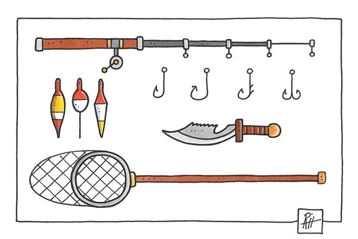 FIshing equipment - illustration - marcorizzi-1205 | ello