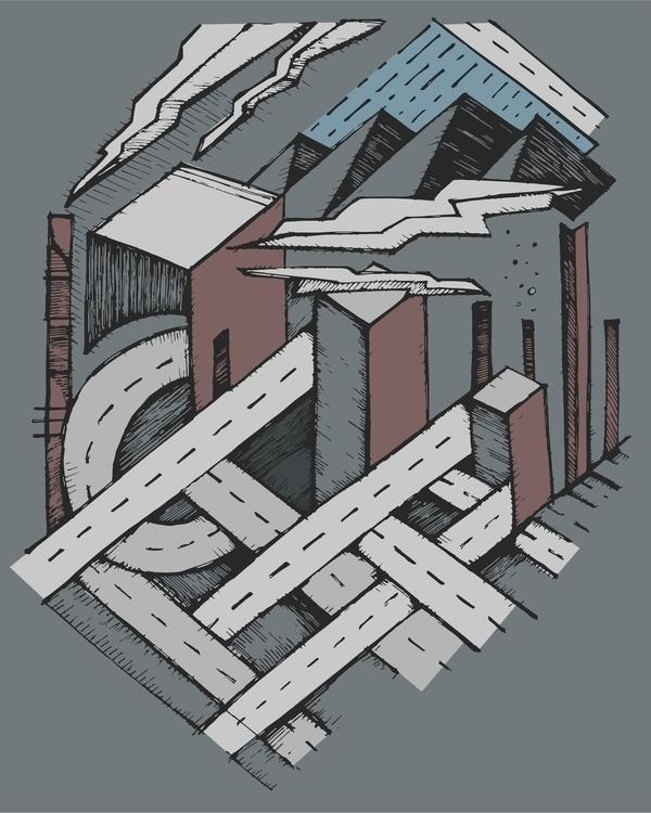 city,gray,pollution,street,urban,buildings,illustration,drawing - bernardojbp | ello