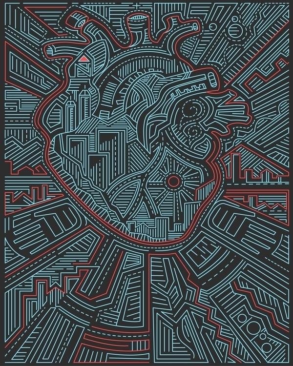 Urban heart - heart,human,hands,veins,arteries,city,urban,buildings,lines,contemporary,modern,illustration,drawing - bernardojbp | ello