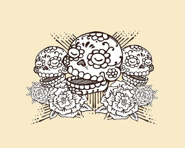 dead´sday,skulls,heads,smile,teeth,death,dead,bones,flowers,mexican,tradition,mexico,traditional,roses,illustration,drawing - bernardojbp | ello
