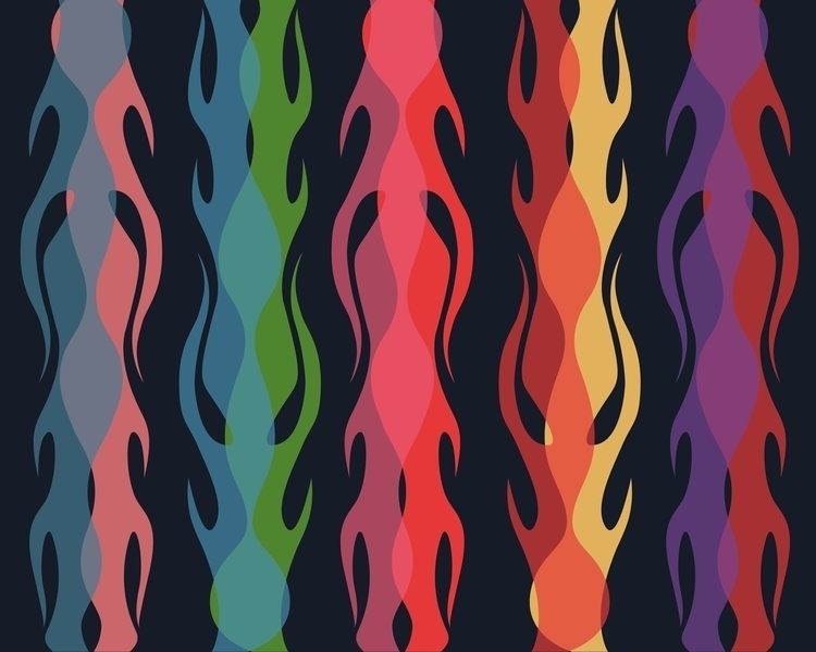 Fire flames colorful pattern - fire,flames,pattern,colorful,illustration,drawing,modern,contemporary - bernardojbp | ello