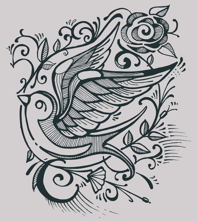 Swallow bird flowers - swallow,bird,flowers,roses,plants,tattoo,retro,vintage,animal, - bernardojbp | ello
