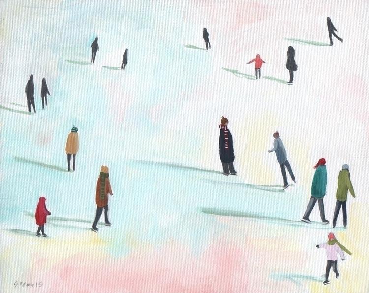 Iceskating, illustration, folkart - jenniferpease | ello