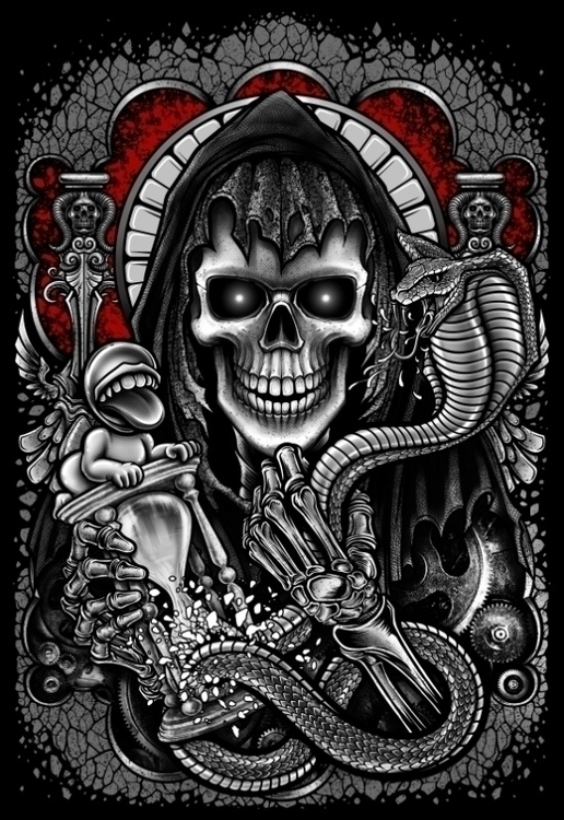 Winya 54 - illustration, skull, snake - winya | ello