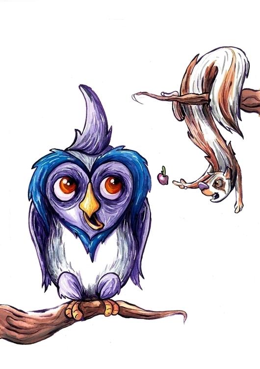 owl squirrel watercolor - children'sillustration - kaiman-6057   ello