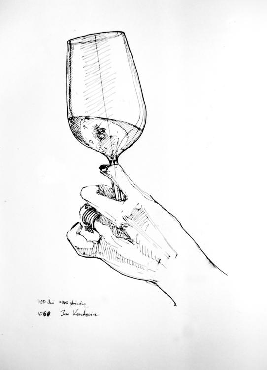 Cheers Ink paper, A3 - hand, wine - jandraws | ello