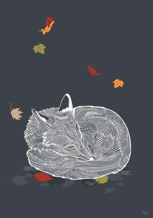 Autumn Fox. Hibernate curl - illustration - kwebberillustrations | ello