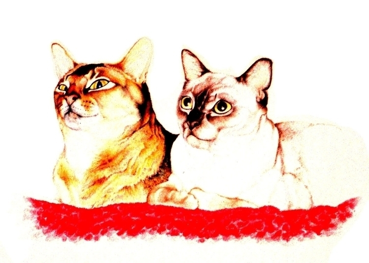 kitty cats - illustration, painting - kierston | ello