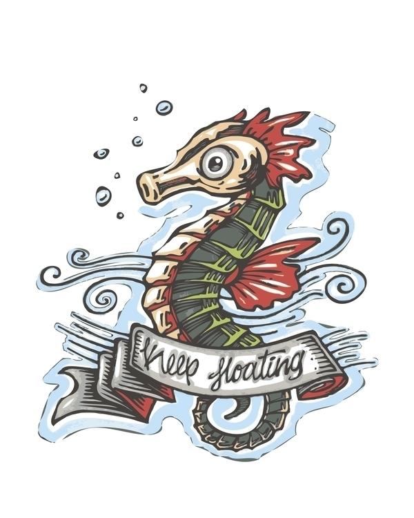 floating - seahorse,animal,illustration,drawing,tattoo,water,bubbles,scales,fins, - bernardojbp   ello