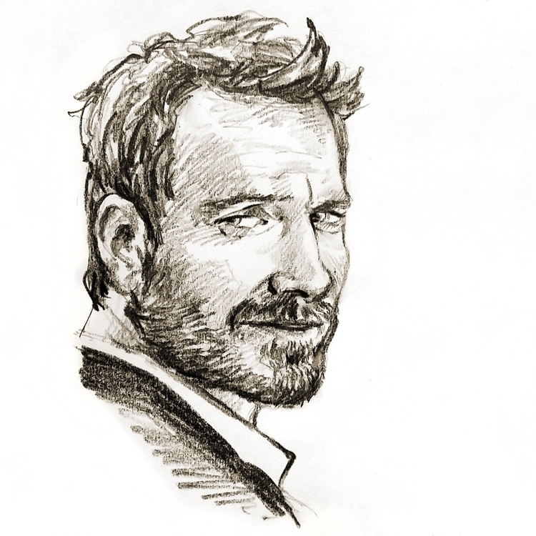 Fassbender - portrait, pencil, sketch - prianikn | ello