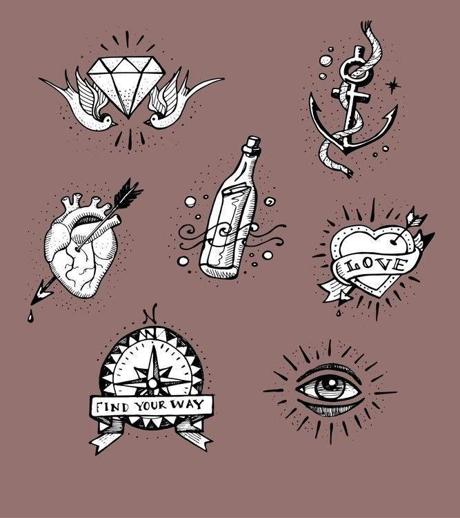 school tattoo designs - oldschool,tattoo,eye,bottle,diamond,birds,swallows,anchor,rope,compass,blood,heart,illustration,retro,tattoo, - bernardojbp | ello