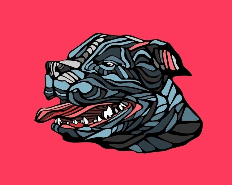 Pitbull - dog,pitbull,head,illustration,drawing,red, - bernardojbp | ello