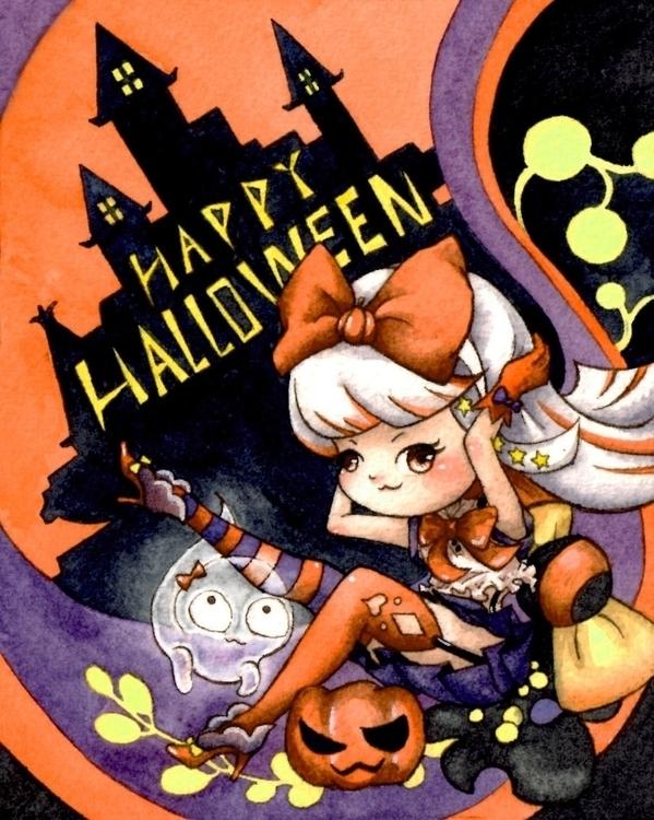Halloween Card illustrated wate - pinillustration | ello