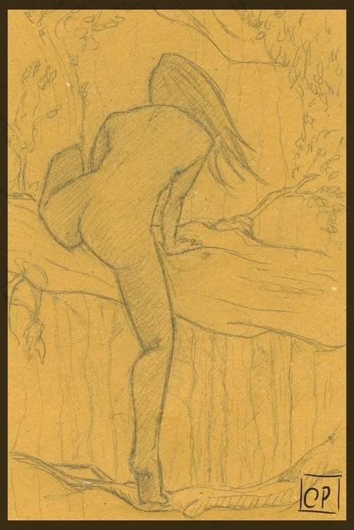 sketch, nude, woman, fantasyillustration - cristinaporcelli | ello