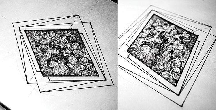 Lilac - illustration, drawing, #dotwork - karolina-4327 | ello