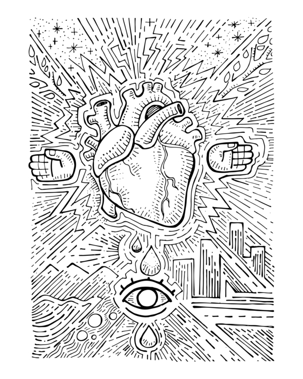 Urban electic heart - urban,electric,heart,hands,eye,electricity,buildings,tears,streets,stars,veins,arteries,illustration,drawing, - bernardojbp | ello