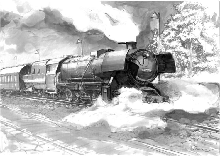 Steam engined locomotive Tria M - jandraws | ello