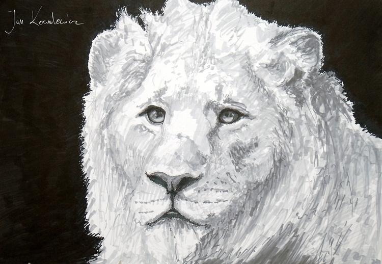 Lion Tria Markers, A3 - cat, animal - jandraws | ello