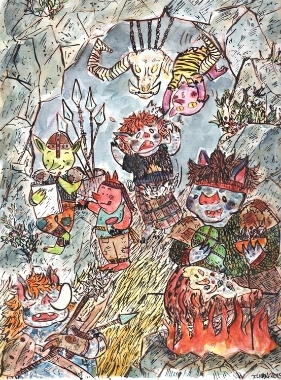 Imps goblin caves - illustration - jchanart | ello