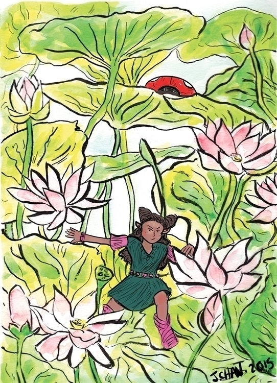 leaf girl water lilies - illustration - jchanart | ello