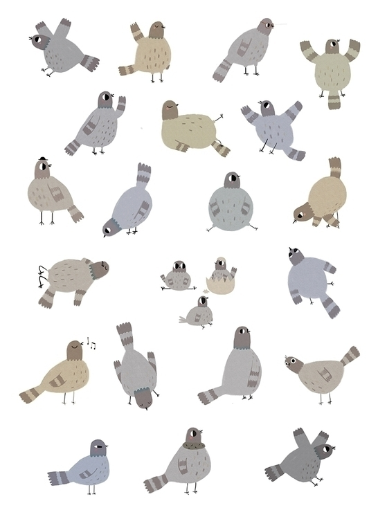Pigeons - pigeons, illustration - mariannacoppo | ello