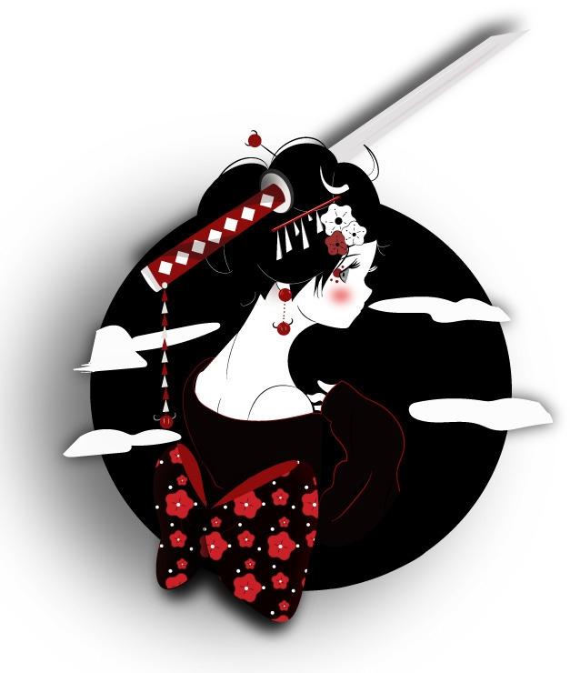 paper geisha - illustration, japan - kuma-2458   ello
