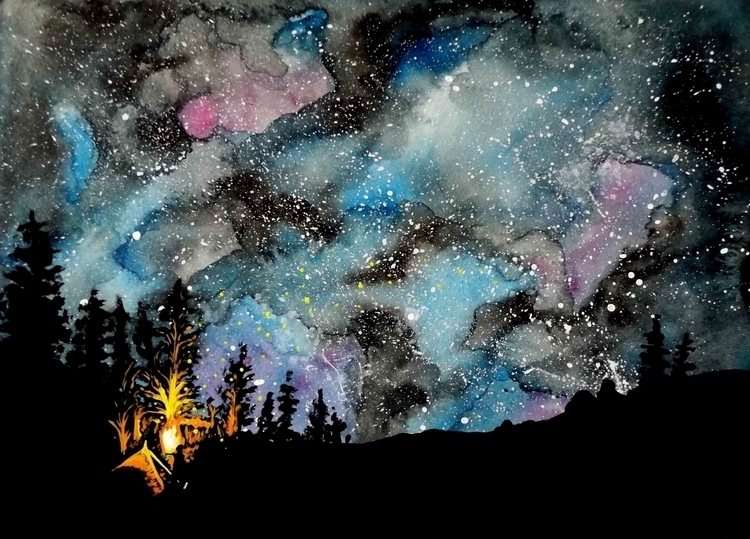 'Camping stars'- watercolour ac - izzywoolley | ello