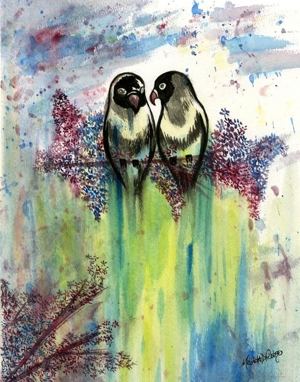 Love Birds Air - illustration, #watercolor - melindadipietro | ello