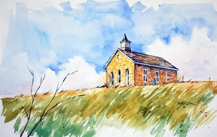 Flint Hills Church - watercolor - rlnelsonmo | ello