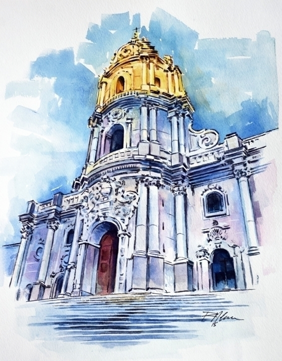 Sicilian Cathedral - watercolor - rlnelsonmo | ello