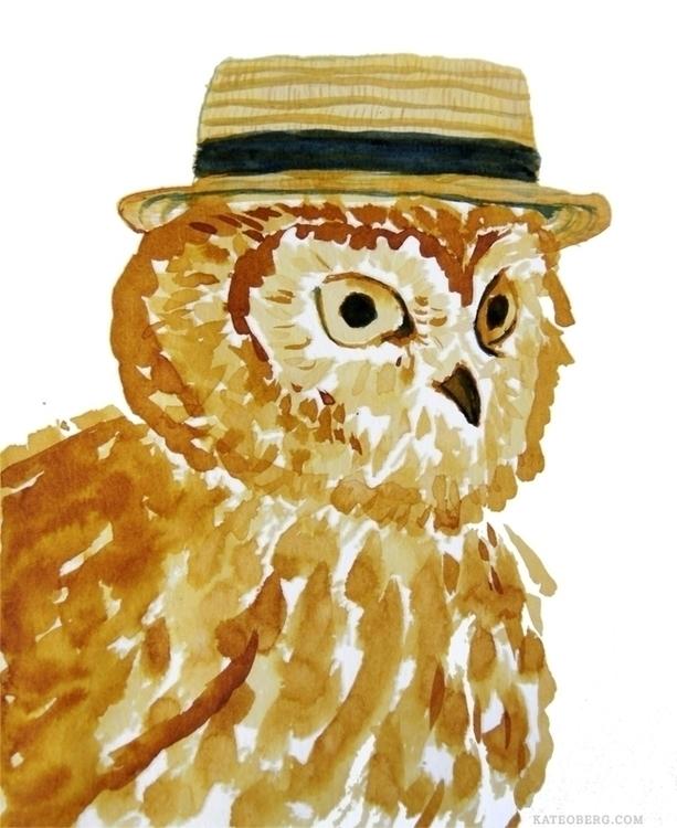 Dapper Owl - illustration, ink, bird - kateoberg | ello