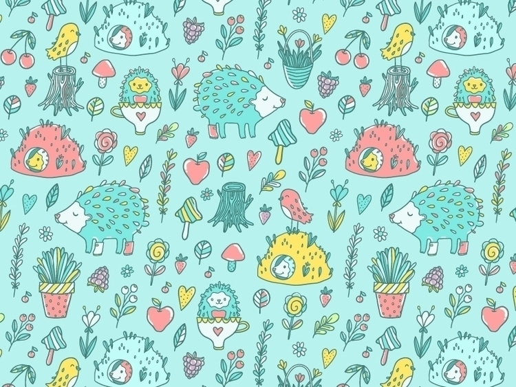 Hedgehogs - pattern, patterndesign - annaalekseeva | ello
