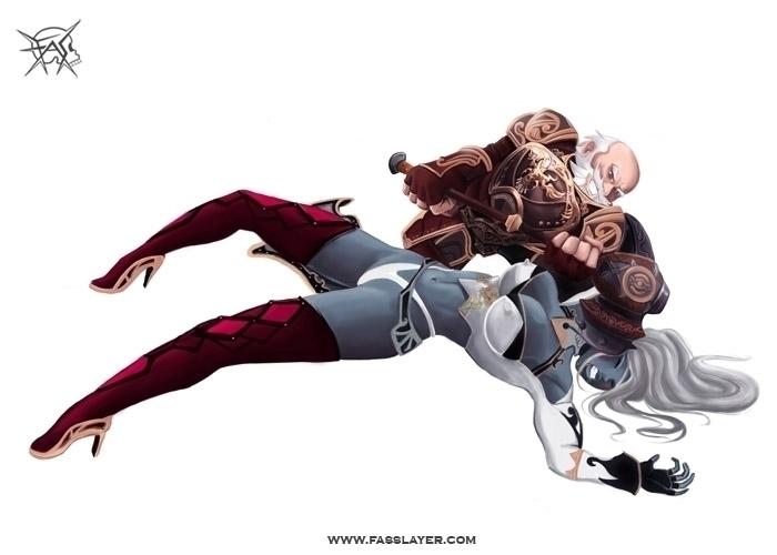 Dwarf dark elf - illustration, painting - fasslayer   ello