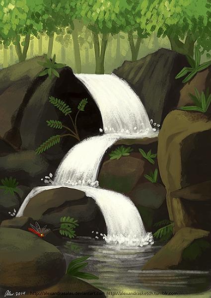 Stream - stream, waterfall, illustration - alexandrasketch   ello