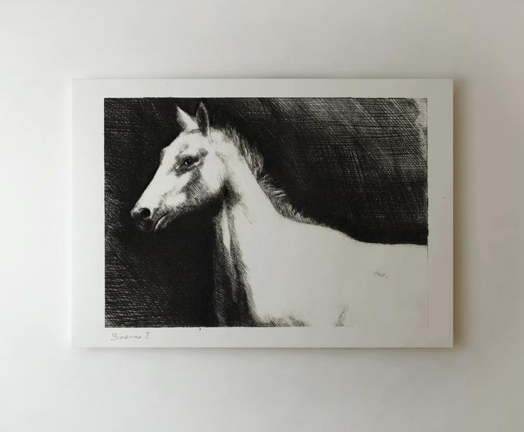 white horse - etching, printmaking - zizilka   ello