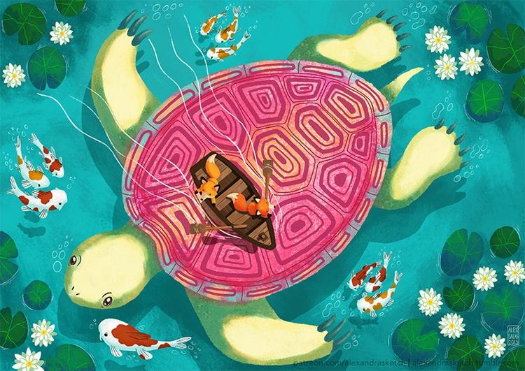 Giant turtle - illustration, foxes - alexandrasketch | ello