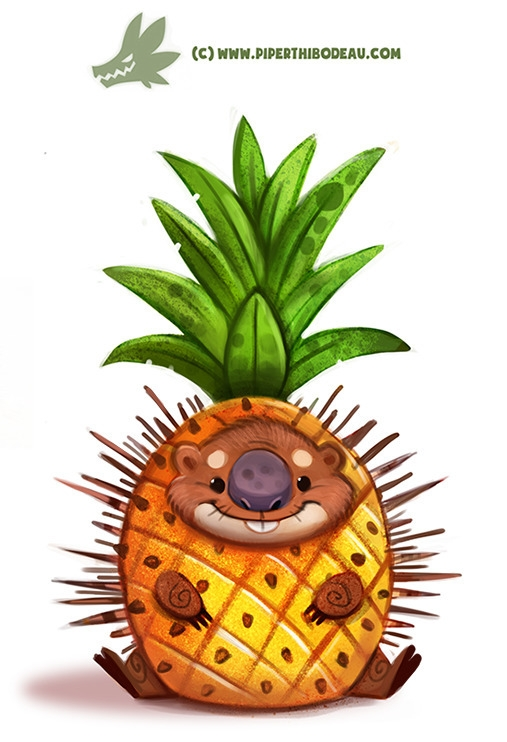 Daily Paint Porcupine Apple - 1174. - piperthibodeau | ello