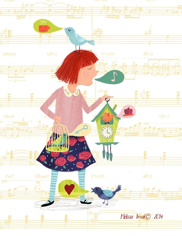 Cuckoo Girl Melissa Iwai 2014 - children,illustration,girl,birds,music - melissaiwai | ello