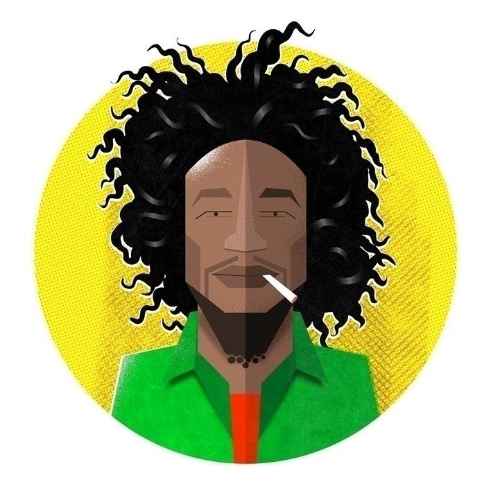 Bob Marley flat portrait - illustration - pwilster | ello