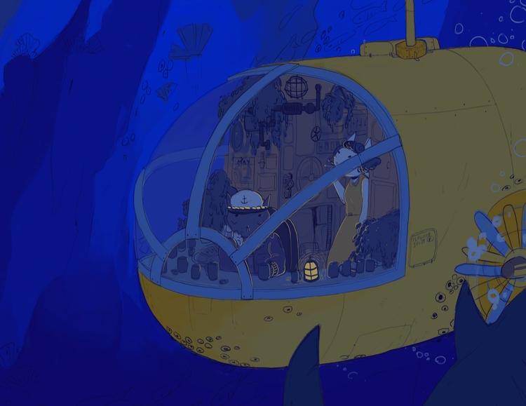 catman, submarine, layout - cloodiedraws   ello