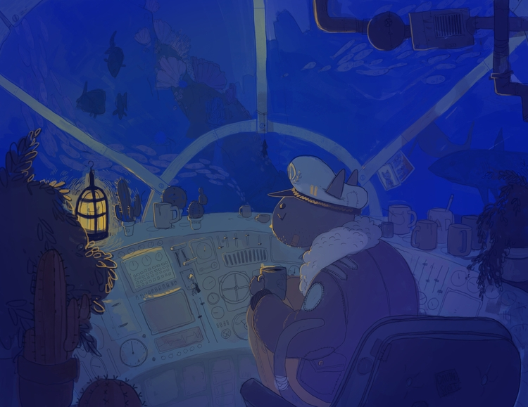catman, submarine, layout - cloodiedraws | ello