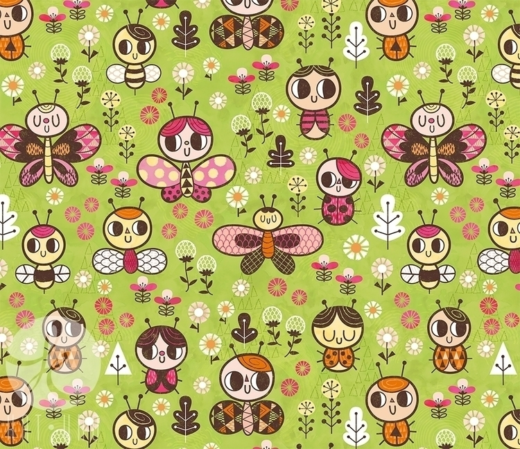 Happy Bug Garden pattern - bugs - katuno | ello