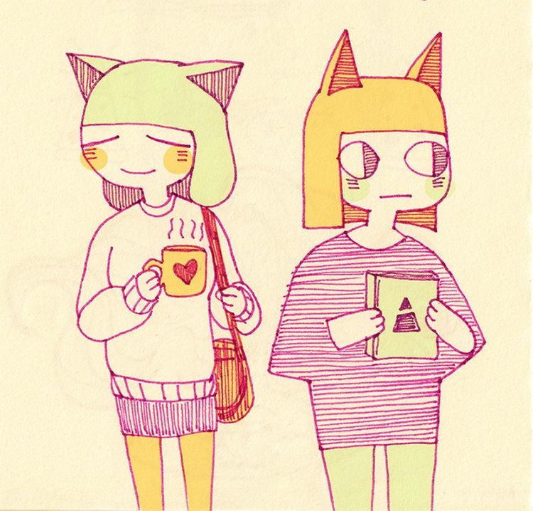 cat sisters - sketchbook, illustration - linbhu | ello