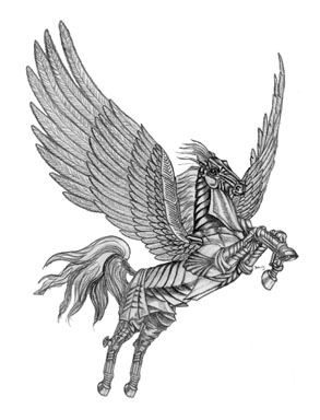 Steel Pegasus - drawing - brandyhouse | ello