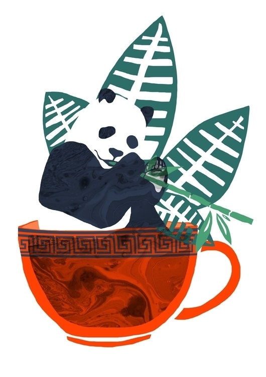 Panda 'poo' Tea - collage, illustration - lisastatham | ello