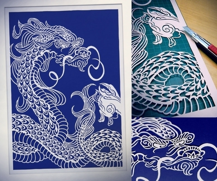 Dragon Piece white papercut - illustration - myblueberrybox | ello