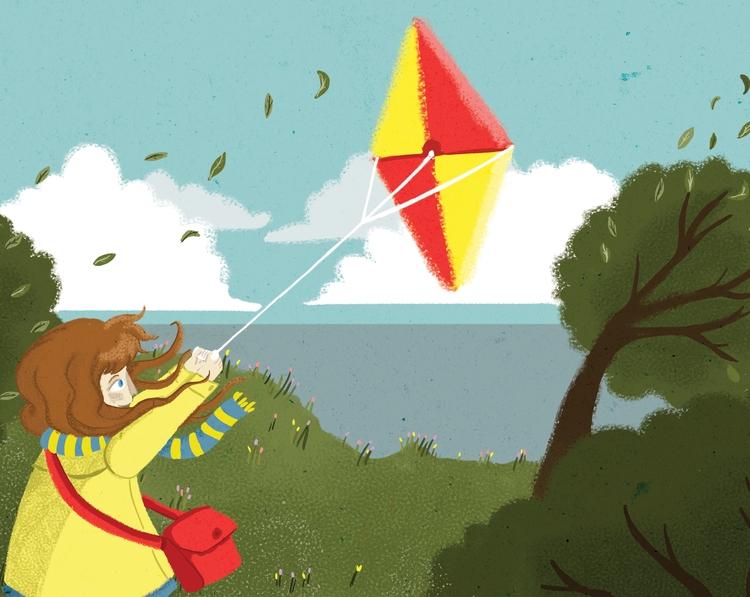 Flyin' kite - children'sillustration - ateepee | ello